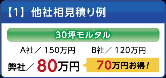 他社相見積もり事例|モルタルの施工が香川徳島ホームサービスなら70万もお得です!